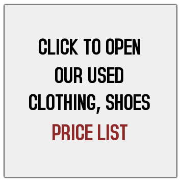 USED CLOTHING PRICE LIST